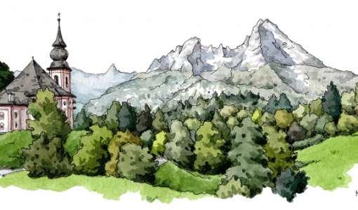 Farbenfrohe Berglandschaften mit Tinte und Aquarell