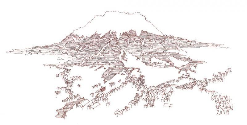 Bergmassiv -  Architektur und Landschaft